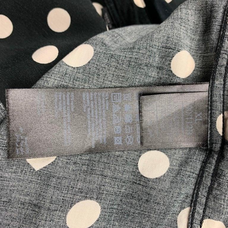 Men's ALLSAINTS Size XL Black & White Polka Dot Viscose Button Up Long Sleeve Shirt For Sale