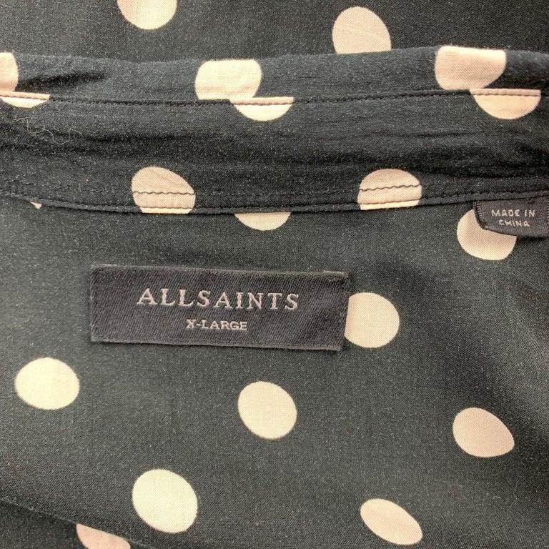 ALLSAINTS Size XL Black & White Polka Dot Viscose Button Up Long Sleeve Shirt For Sale 1