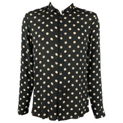 ALLSAINTS Size XL Black & White Polka Dot Viscose Button Up Long Sleeve Shirt