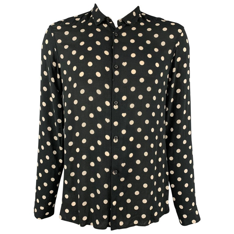 ALLSAINTS Size XL Black & White Polka Dot Viscose Button Up Long Sleeve Shirt For Sale