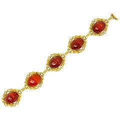 Allsopp & Allsopp Art Nouveau Carnelian Scarab 14 Karat Gold Bracelet