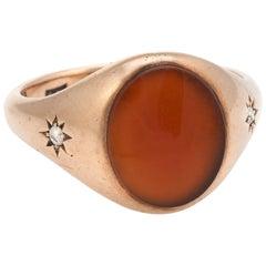 Allsopp Antique Deco Mens Carnelian Diamond Signet Ring Vintage 10k Rose Gold