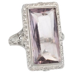 Allsopp Bros Antique Deco Amethyst Filigree Square Cocktail Ring