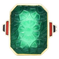 Allsopp Bros. Art Deco Chrysoprase Enamel 10 Karat Gold Carved Floral Ring