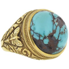 Allsopp Bros. Art Nouveau 14 Karat Yellow Gold Turquoise Matrix Ring
