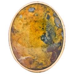 Allsopp Bros. Art Nouveau Jasper Cabochon 14 Karat Gold Ring