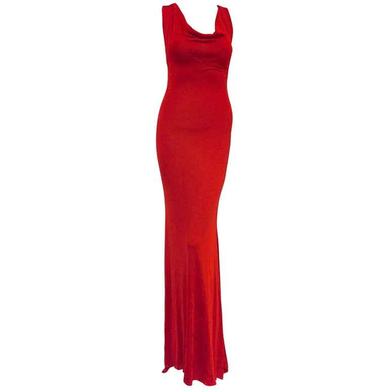 """Alluring Alexander McQueen Red """"Bodycon"""" Gown  For Sale"""