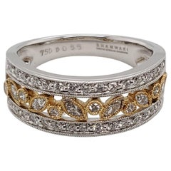 Alluring Half Eternity Marquise Dress Ring Set in 18 Karat White and Yellow Gold