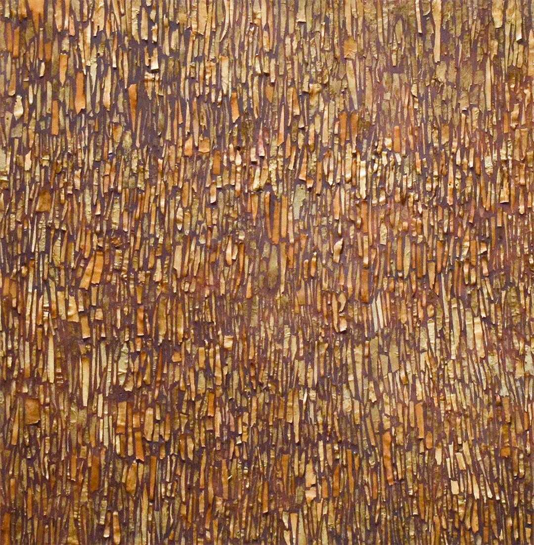 Barking Betula: Abstract Encaustic Painting of Golden Tree Bark Tones on Purple