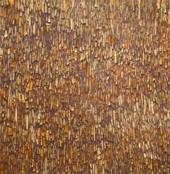 Barking Betula: Abstract Encaustic Painting of Golden Tree Bark Tones on Purple