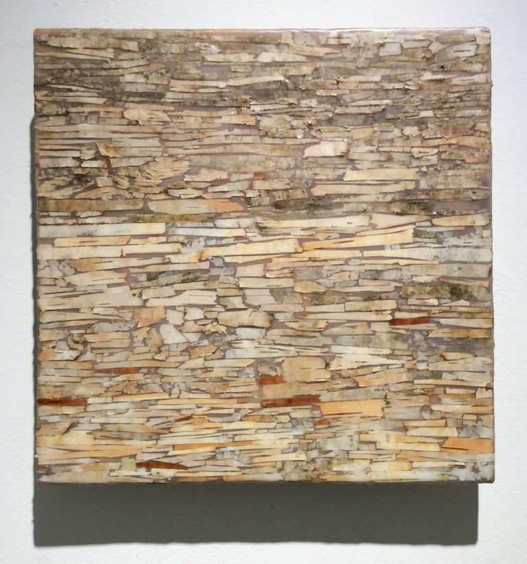 Abstract encaustic painting with assorted neutral toned birch bark on wood panel 12 x 12 x 1.5 inches  This modern abstract encaustic painting by Allyson Levy is made with assorted beige, tan, and sienna orange birch bark encased in a layer of