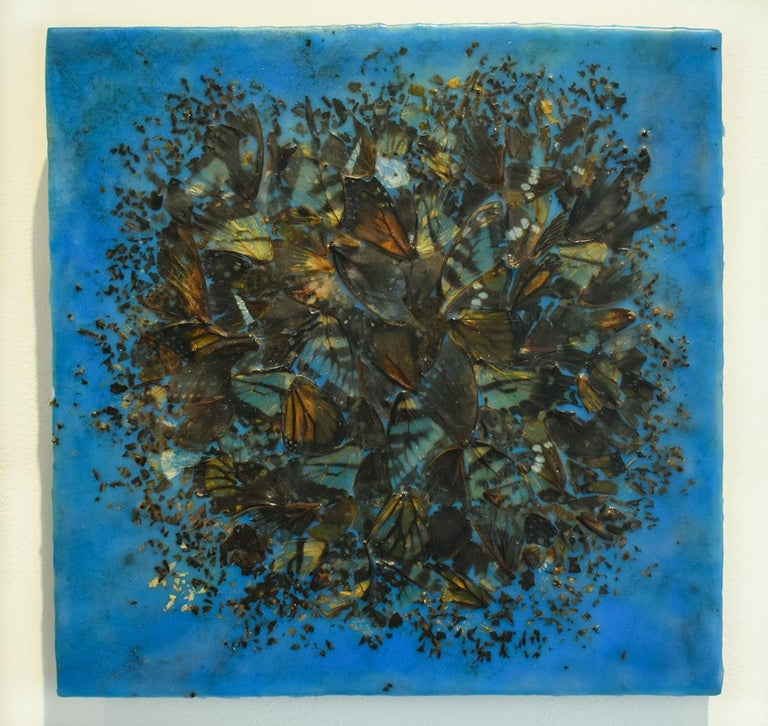 Cacophony 2 (Blue Abstract Motif of Butterfly Wings and Encaustic on Panel) - Painting by Allyson Levy