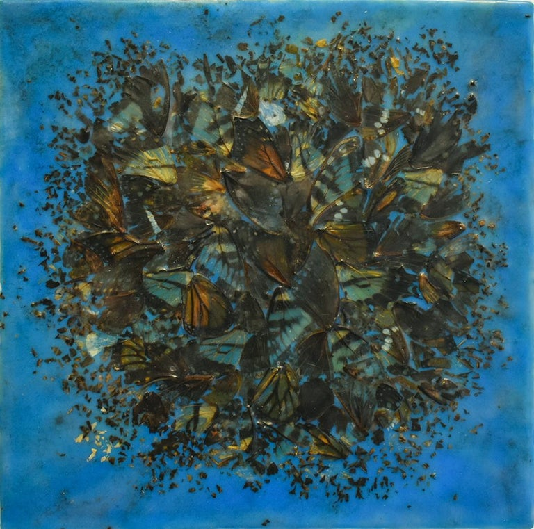 Allyson Levy Abstract Painting - Cacophony 2 (Blue Abstract Motif of Butterfly Wings and Encaustic on Panel)