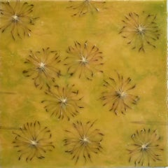 Cynara Shine: Abstract Citron Yellow Encaustic Painting on Panel with Thistles