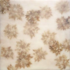 Euphorbic 7: Abstract White Encaustic Painting on Wood with Beige Plant Leaves