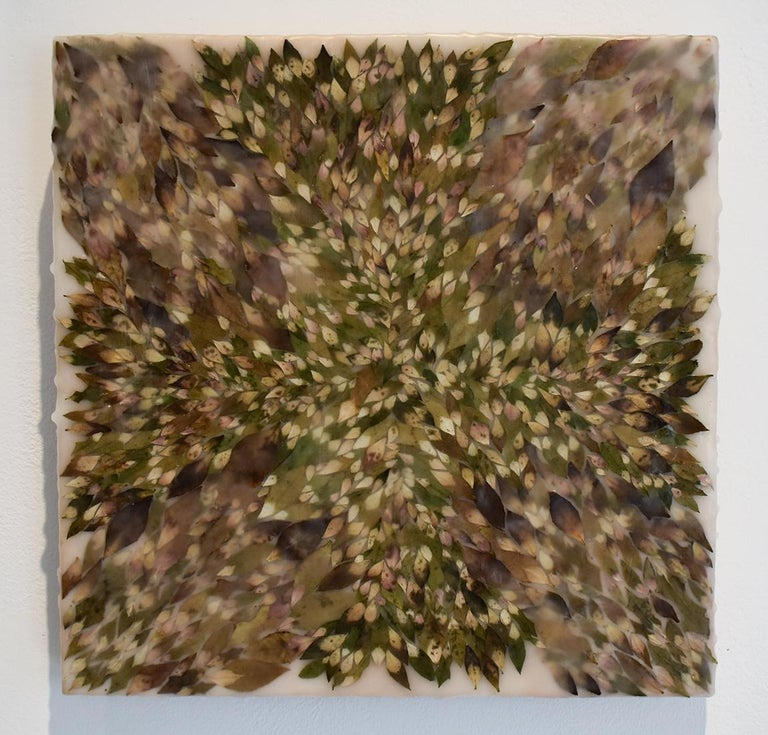 Euphorbic 9 (Abstract Encaustic Painting with Spurge Leaves & Neutral Palette)  - Brown Abstract Painting by Allyson Levy
