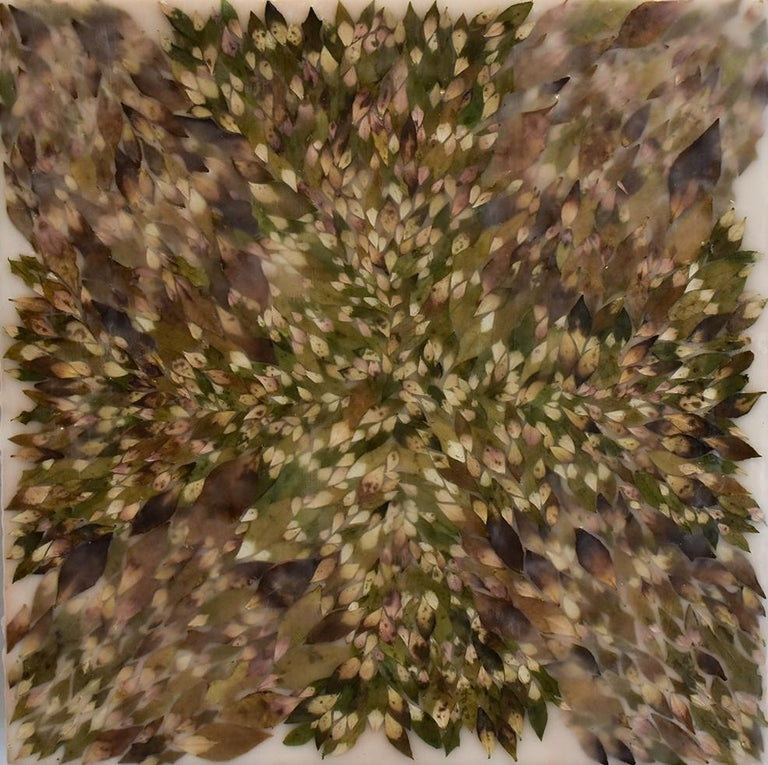 Allyson Levy Abstract Painting - Euphorbic 9 (Abstract Encaustic Painting with Spurge Leaves & Neutral Palette)