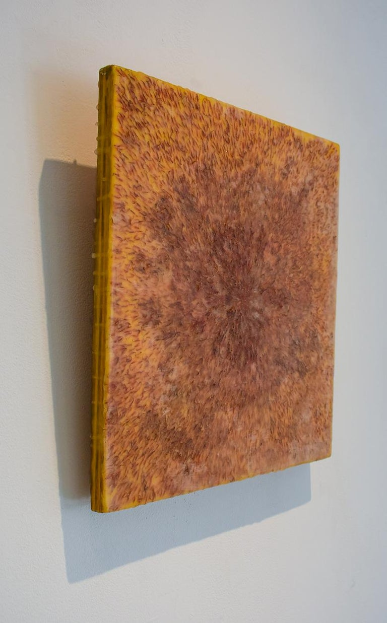 Safflower: Abstract Blood Orange Encaustic Painting on Panel with Saffron Fibers For Sale 1