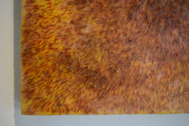 Safflower: Abstract Blood Orange Encaustic Painting on Panel with Saffron Fibers For Sale 2