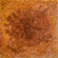 Safflower: Abstract Blood Orange Encaustic Painting on Panel with Saffron Fibers