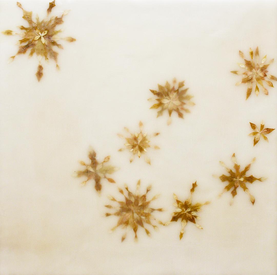 Snowflowers 5: Abstract Encaustic Painting of Leaves on Cream Beige Background