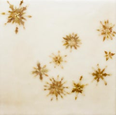 Snowflowers 5: Abstract Encaustic Painting of Leaves on Cream Beige Background