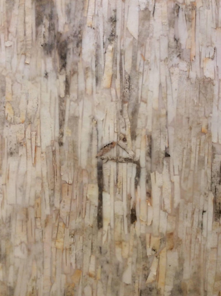 Tree House (Abstract Motif with Birch Bark on Wood Panel) - Beige Abstract Painting by Allyson Levy
