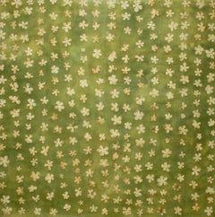 Wallpaper 2: Abstract Green Encaustic Painting of Yellow Flower Petals on Panel
