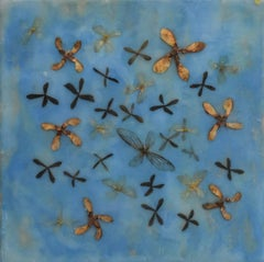 Wings and Maple: Abstract Blue Encaustic Painting with Natural Mixed Material