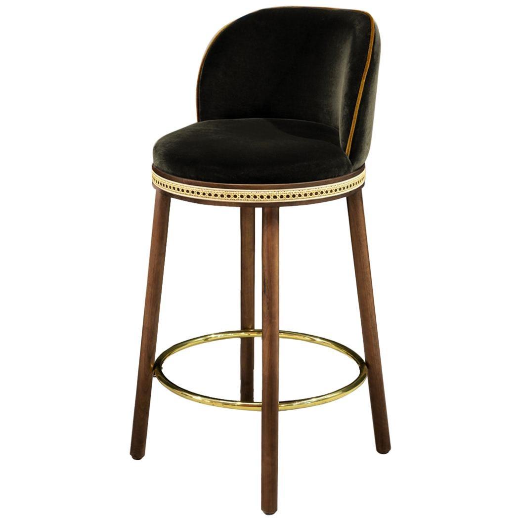 Mid-Century Modern Bar Chair Alma with Soft Cotton Velvet, Walnut and Brass
