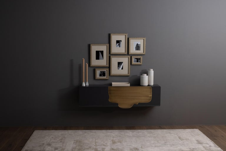 Alma Console Blue-Grey Black Lacquered Dark Oxidized Brass One Leg Wall Mounted For Sale 4