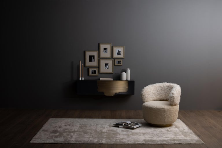 Alma Console Blue-Grey Black Lacquered Dark Oxidized Brass One Leg Wall Mounted For Sale 5