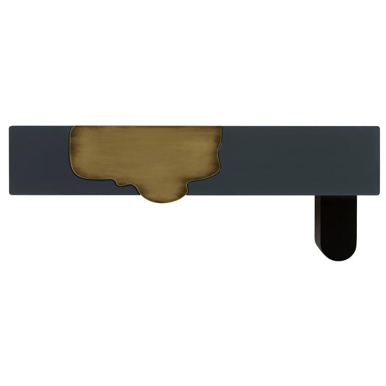 Alma Console Blue-Grey Black Lacquered Dark Oxidized Brass One Leg Wall Mounted For Sale