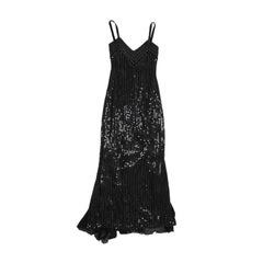 ALMA COUTURE Evening Gown in Black Sequined Silk Size 38FR