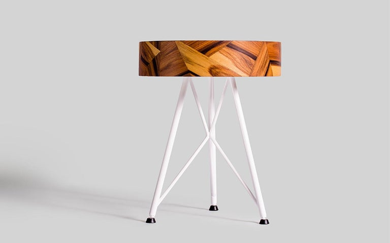 Spanish Alma Geometric Contemporary Rosewood Stool or Auxiliary Table For Sale