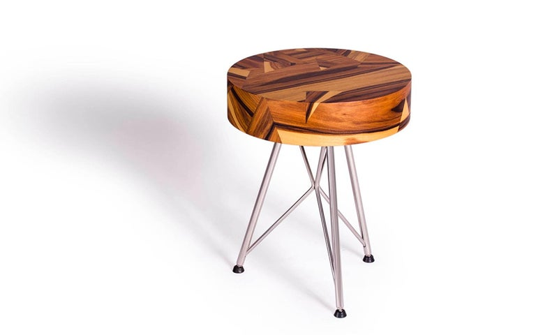 Alma Geometric Contemporary Rosewood Stool or Auxiliary Table In New Condition For Sale In , Brunnthal