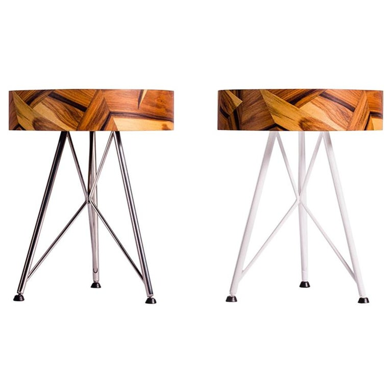 Alma Geometric Contemporary Rosewood Stool or Auxiliary Table For Sale