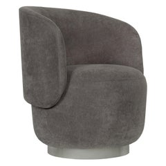 Alma Swivel Armchair Grey Textured Fabric Brushed Stainless Steel