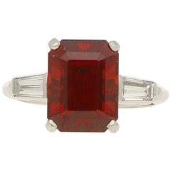 Almandine Garnet and Diamond Engagement / Dress Ring Set in Platinum