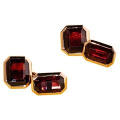 Almandine Garnet Gold Cufflinks