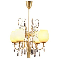 Almari Mauri for Idman Brass and Glass Chandelier