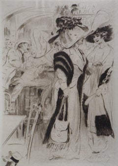 At the bar - Original Etching Handsigned