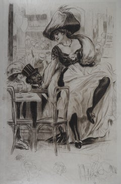 Cabaret of Paris : Cancan Dancer - Original Etching on parchment, Handsigned