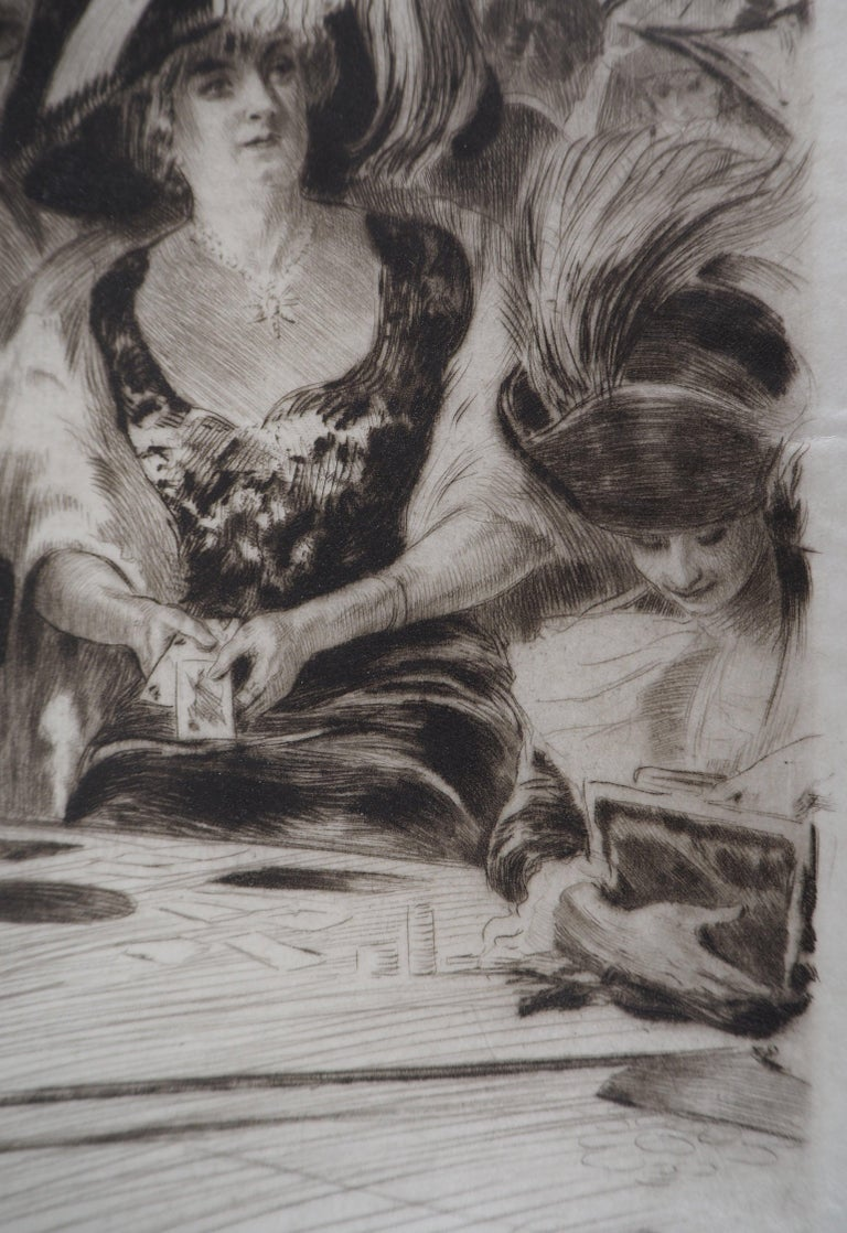 Casino : The Card Players (Poker Game) - Original Etching Handsigned  - Modern Print by Almery Lobel-Riche
