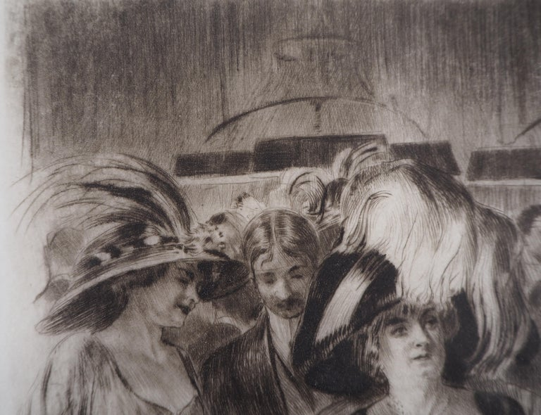 Casino : The Card Players (Poker Game) - Original Etching Handsigned  - Gray Nude Print by Almery Lobel-Riche