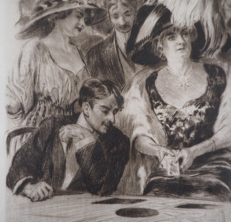 Alméry Lobel-Riche Casino : The Card Players (Poker Game)  Handsigned original engraving Signature printed in the plate Numbered /12 On parchment 31 x 22.5 cm (c. 12.2 x 8.9 inches)  Excellent condition