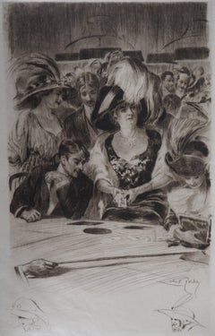Casino : The Card Players (Poker Game) - Original Etching Handsigned