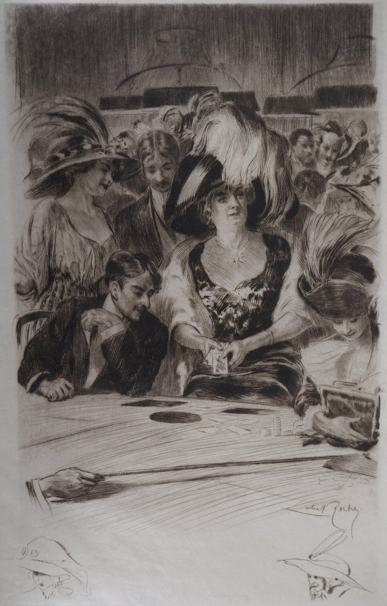 Almery Lobel-Riche Nude Print - Casino : The Card Players (Poker Game) - Original Etching Handsigned