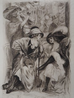 Dancers and Actresses Before the Show - Original Etching Handsigned
