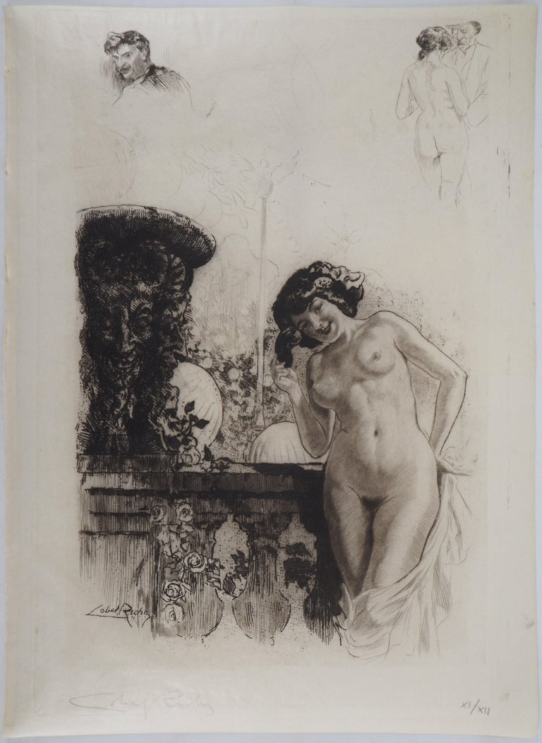 Young lady in a garden - Original Etching Handsigned  - Print by Almery Lobel-Riche